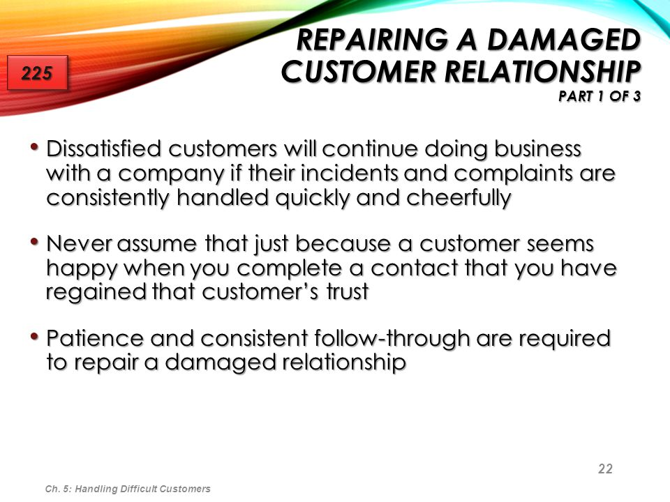 Repairing a Damaged Customer Relationship Part 1 of 3