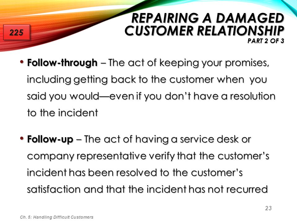 Repairing a Damaged Customer Relationship Part 2 of 3
