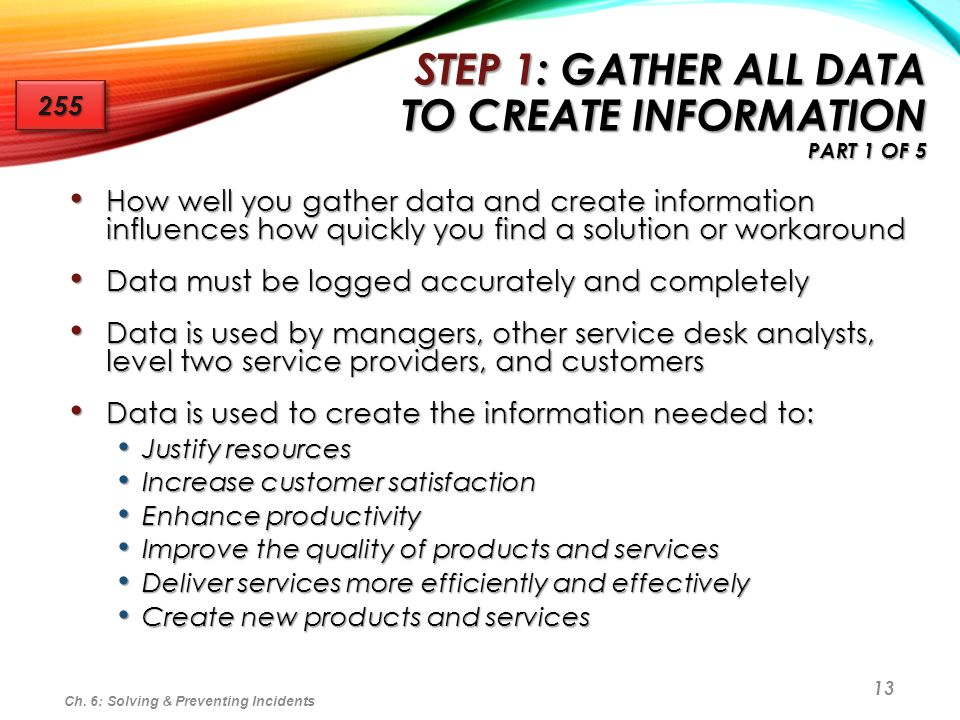 Step 1: Gather All Data to Create Information Part 1 of 5