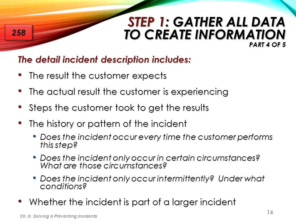 Step 1: Gather All Data to Create Information Part 4 of 5