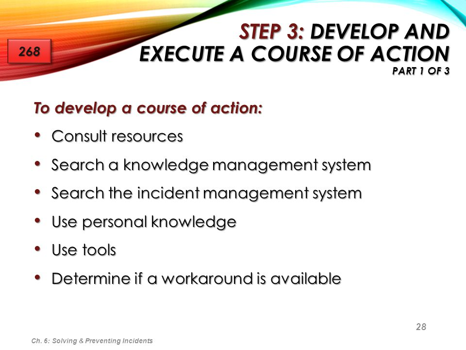 Step 3: Develop and Execute a Course of Action Part 1 of 3