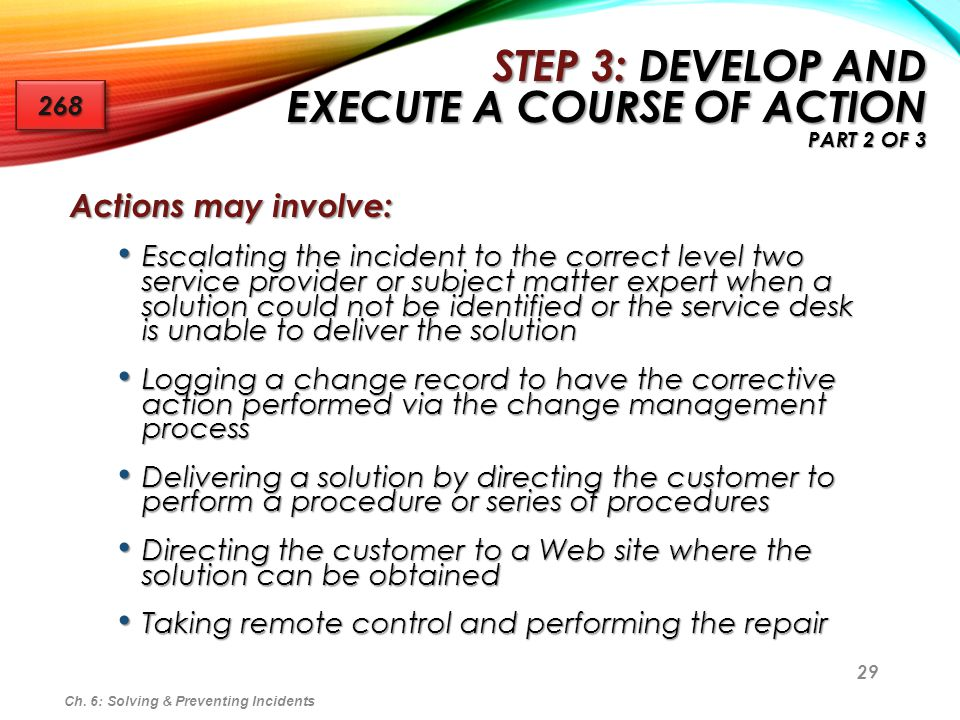 Step 3: Develop and Execute a Course of Action Part 2 of 3