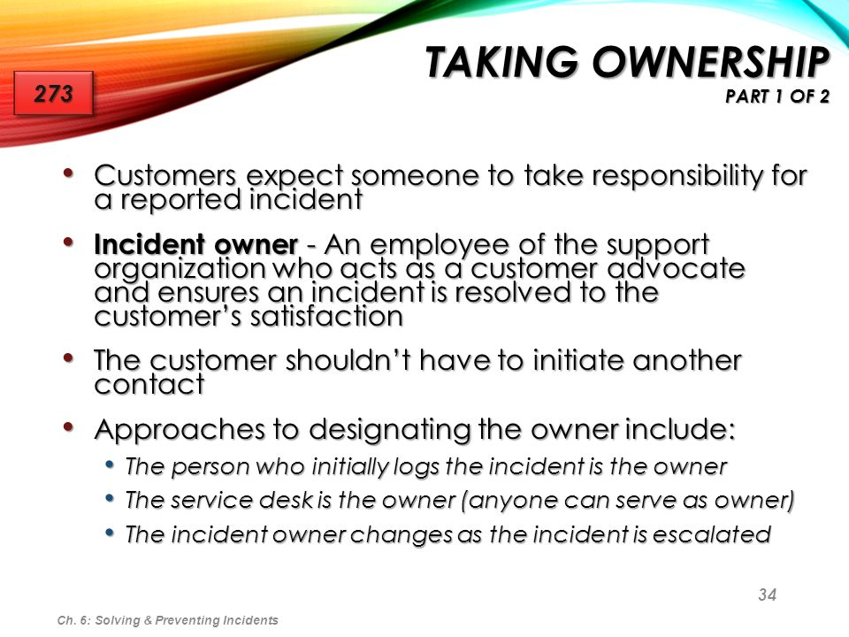 Taking Ownership part 1 of 2