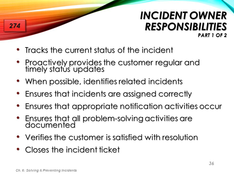 Incident Owner Responsibilities part 1 of 2