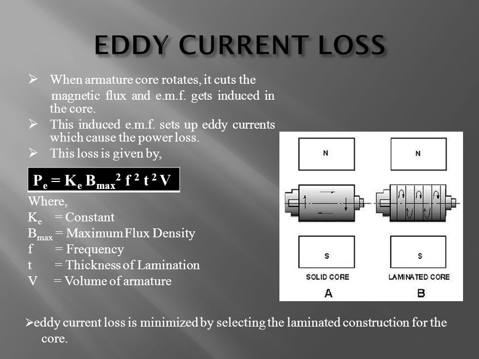 EDDY CURRENT LOSS Pe = Ke Bmax2 f 2 t 2 V