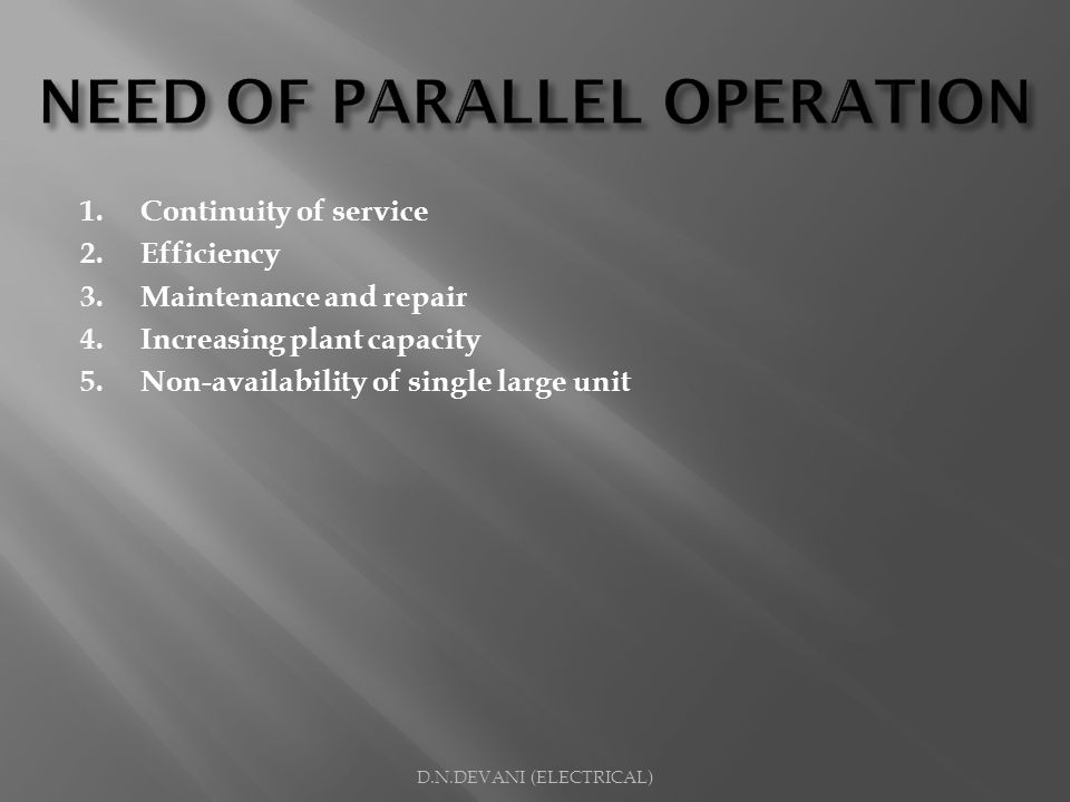NEED OF PARALLEL OPERATION