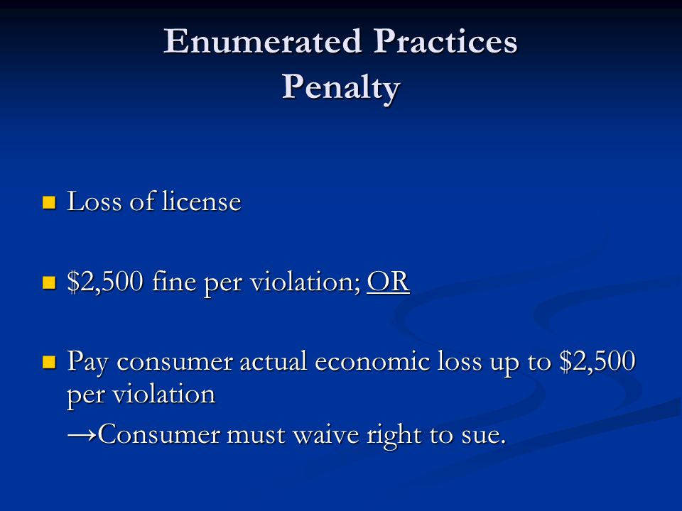 Enumerated Practices Penalty