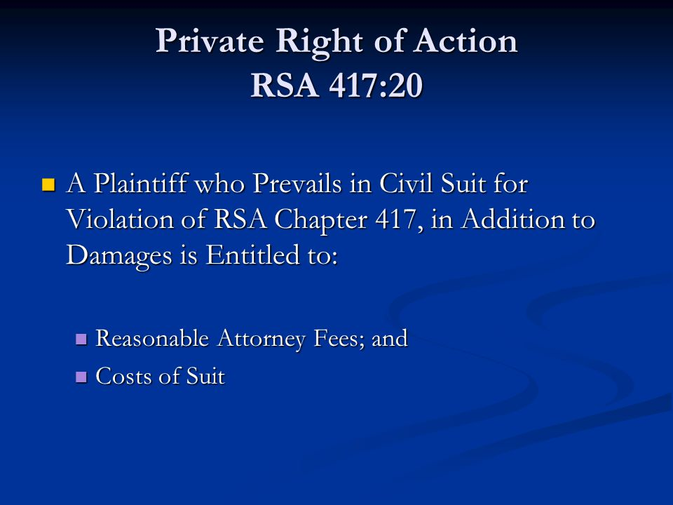 Private Right of Action RSA 417:20
