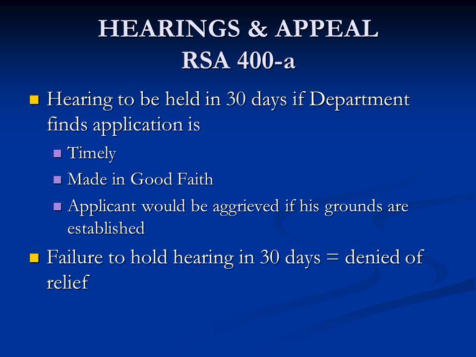 HEARINGS & APPEAL RSA 400-a