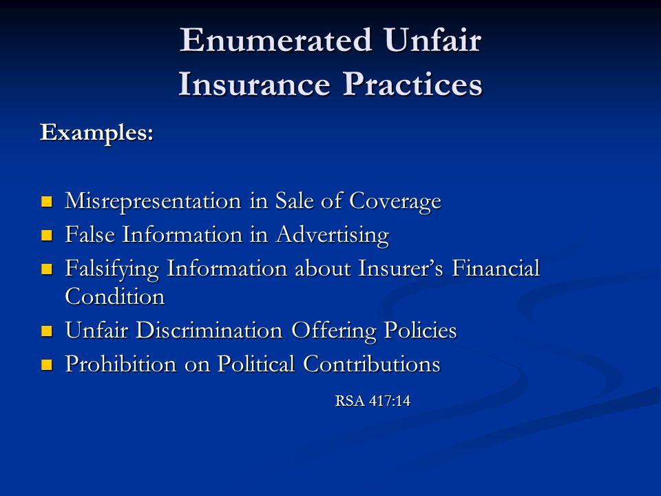 Enumerated Unfair Insurance Practices