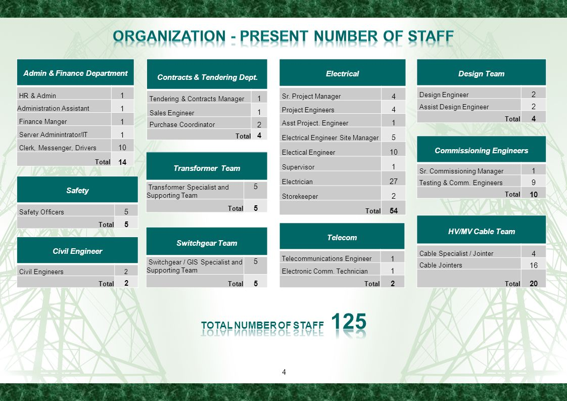 Organization - Present number of staff