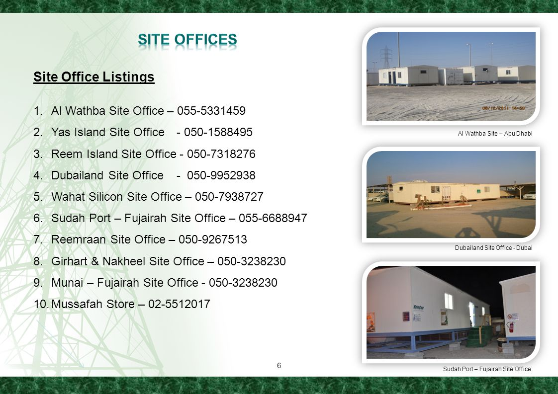 Site Offices Site Office Listings Al Wathba Site Office – 055-5331459