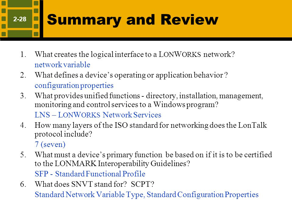 Summary and Review Network variable Configuration properties