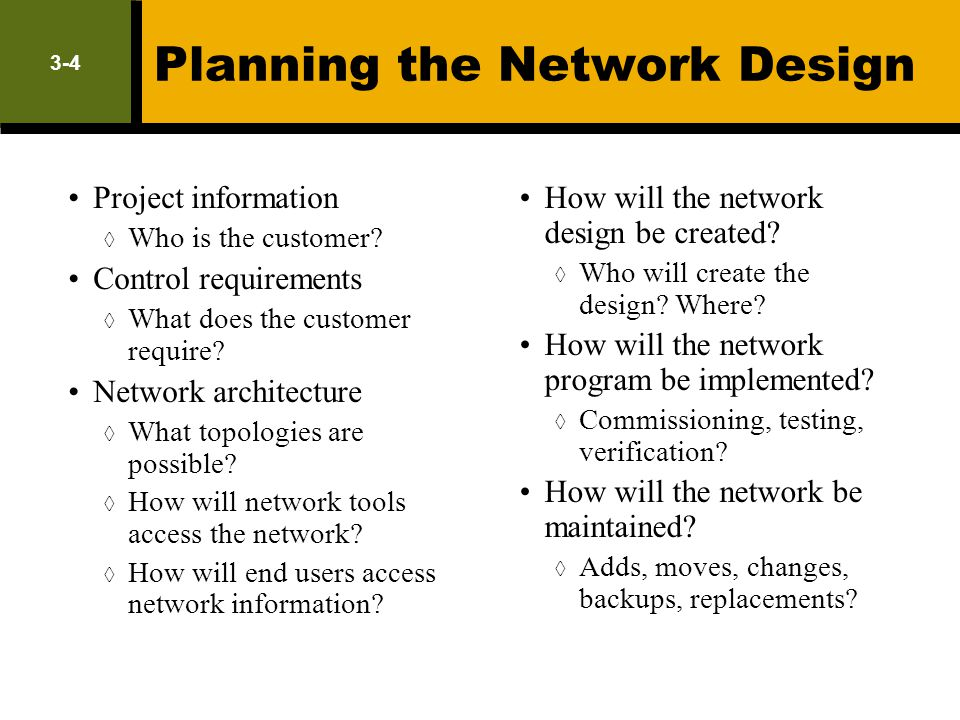 Planning the Network Design