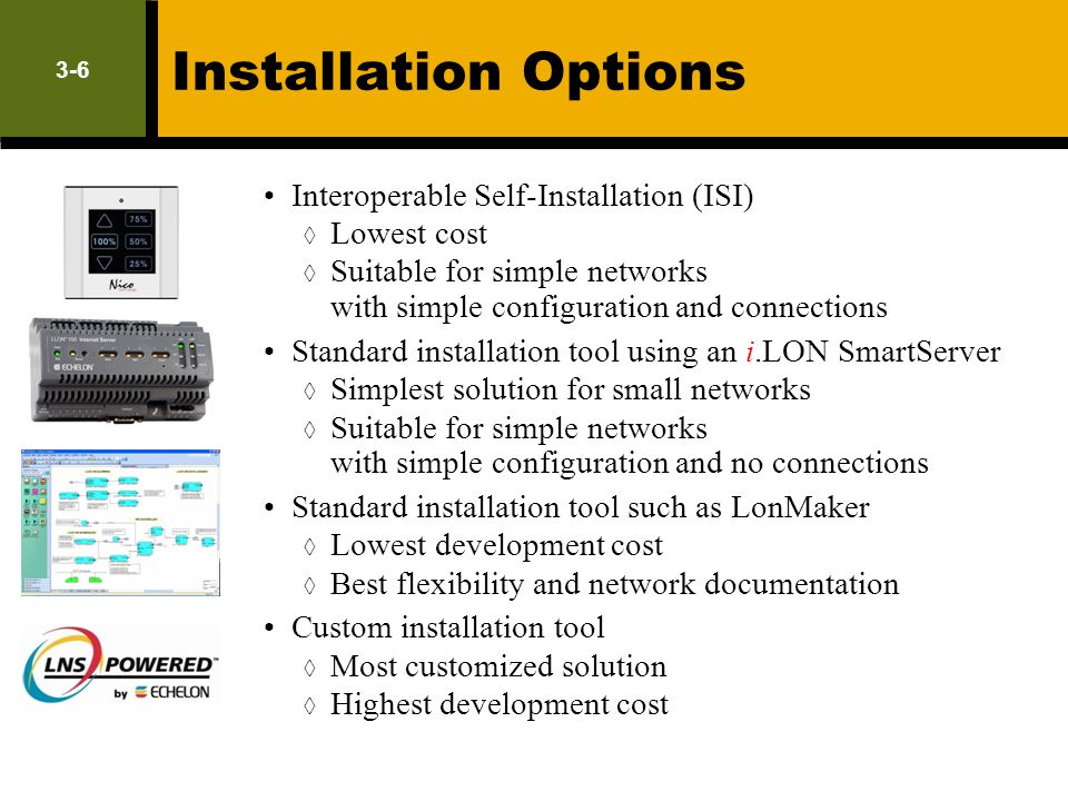Installation Options Interoperable Self-Installation (ISI) Lowest cost