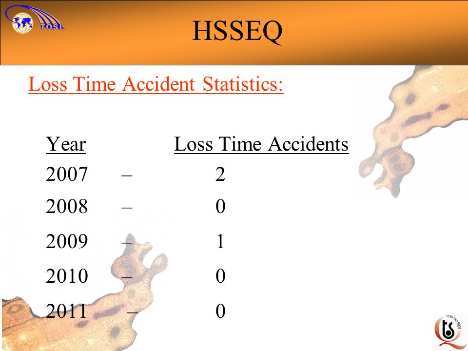 HSSEQ Loss Time Accident Statistics: Year Loss Time Accidents 2007 – 2