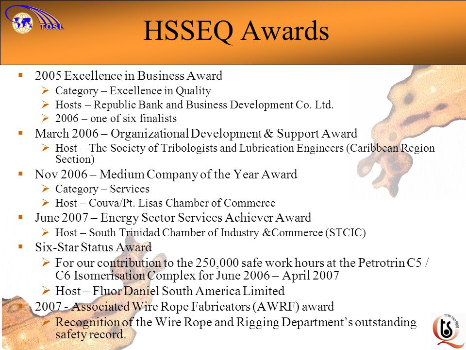 HSSEQ Awards 2005 Excellence in Business Award