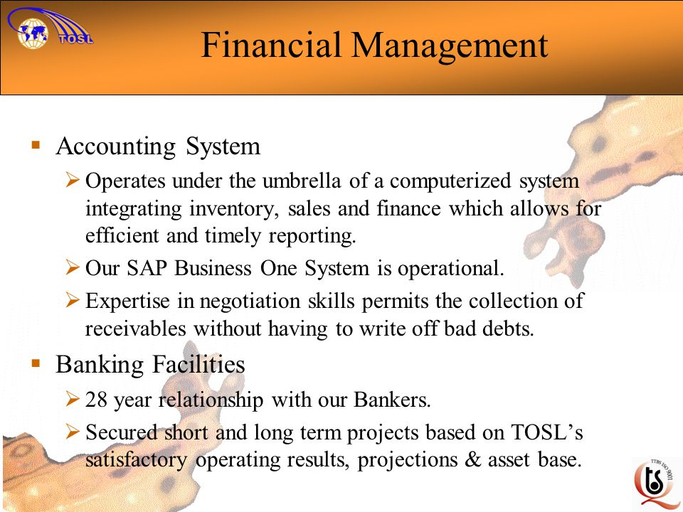 Financial Management Accounting System Banking Facilities