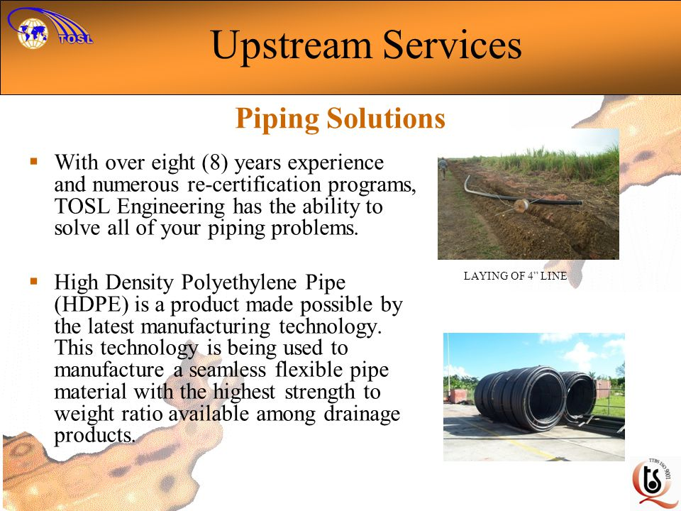 Upstream Services Piping Solutions