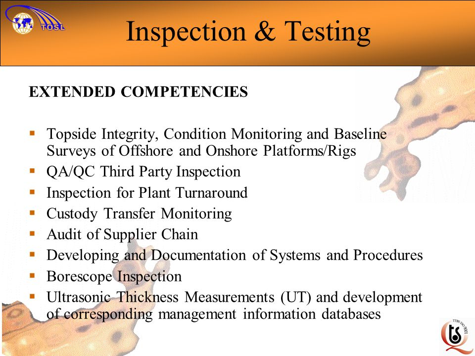 Inspection & Testing EXTENDED COMPETENCIES