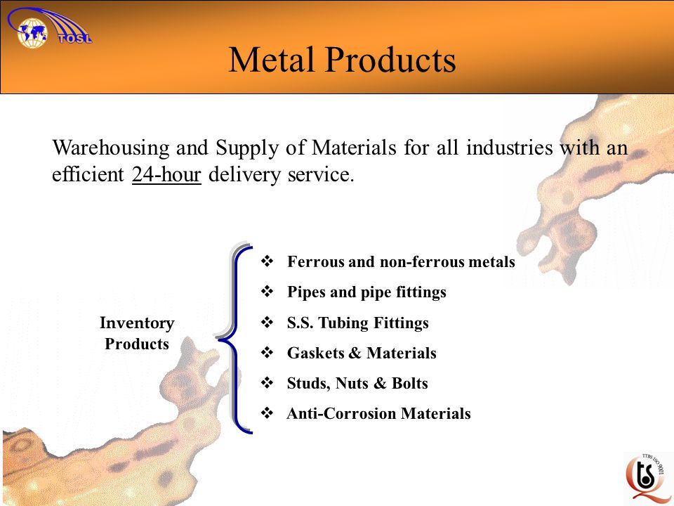 Metal Products Warehousing and Supply of Materials for all industries with an efficient 24-hour delivery service.