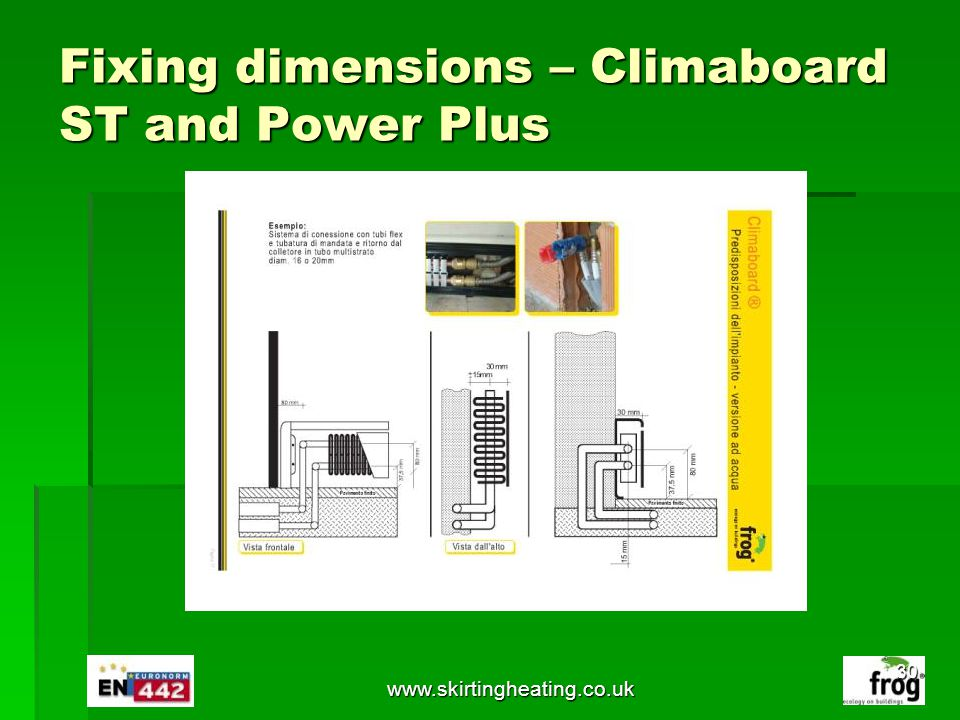 Fixing dimensions – Climaboard ST and Power Plus