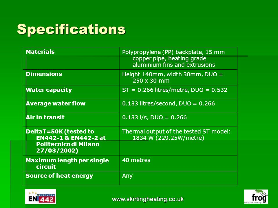Specifications www.skirtingheating.co.uk Materials