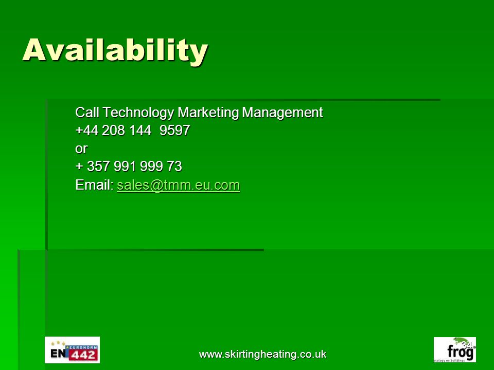 Availability Call Technology Marketing Management +44 208 144 9597 or