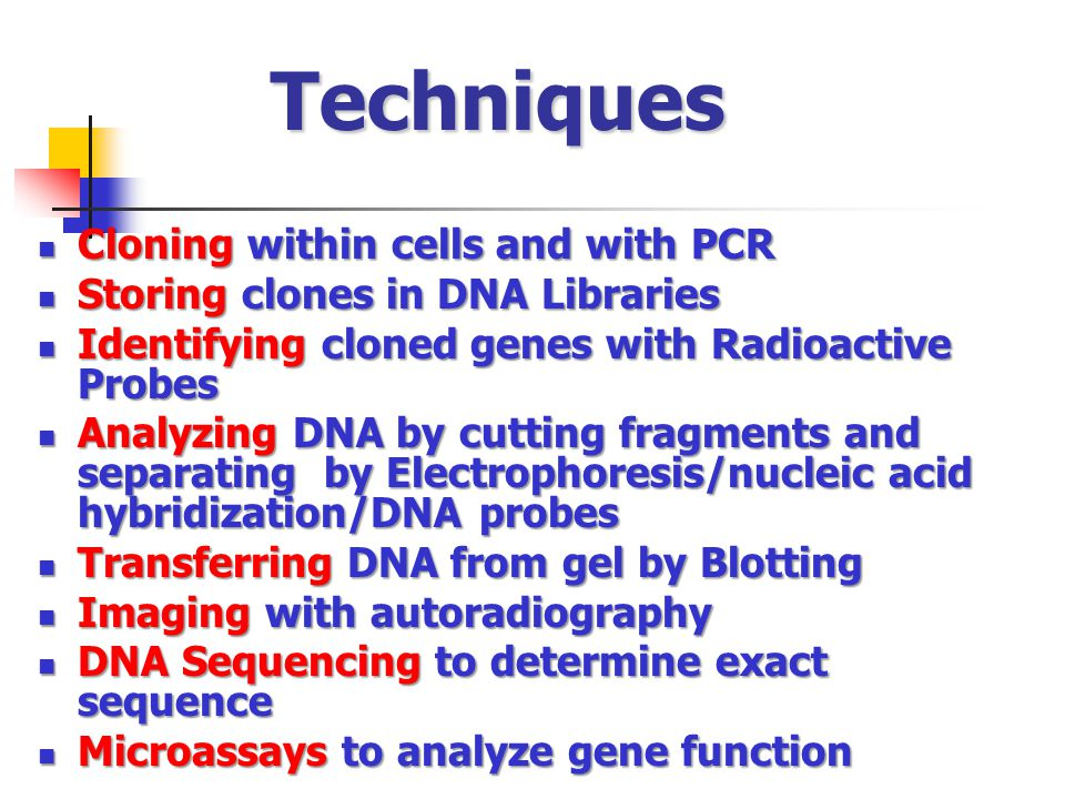 Techniques Cloning within cells and with PCR