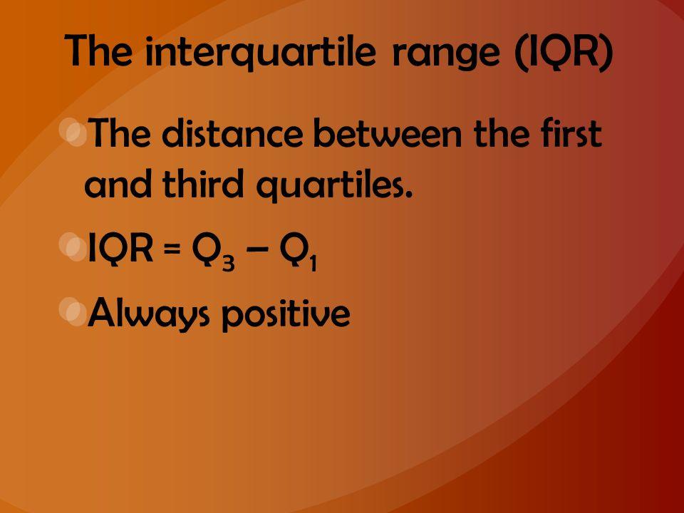 The interquartile range (IQR)
