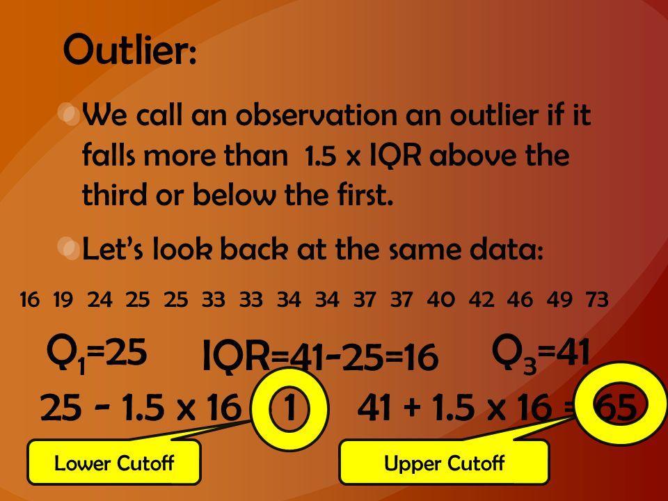 Outlier: Q1=25 Q3=41 IQR=41-25=16 25 - 1.5 x 16 = 1 41 + 1.5 x 16 = 65