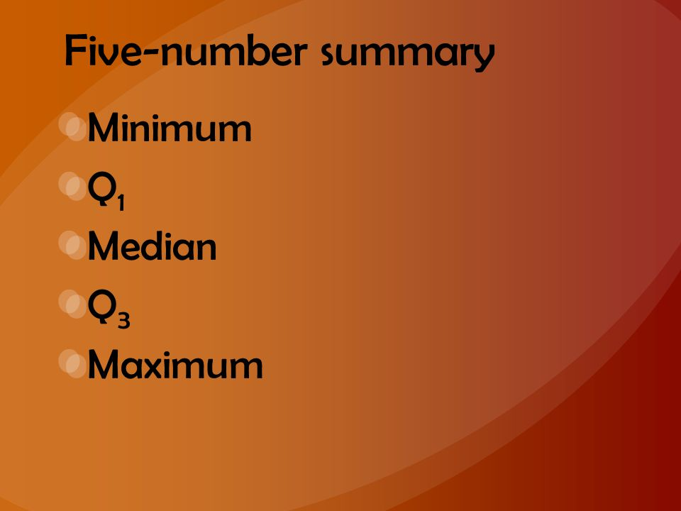 Five-number summary Minimum Q1 Median Q3 Maximum