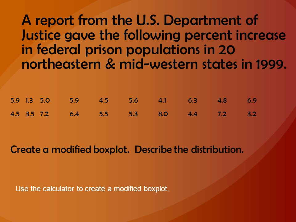 A report from the U.S. Department of Justice gave the following percent increase in federal prison populations in 20 northeastern & mid-western states in 1999.