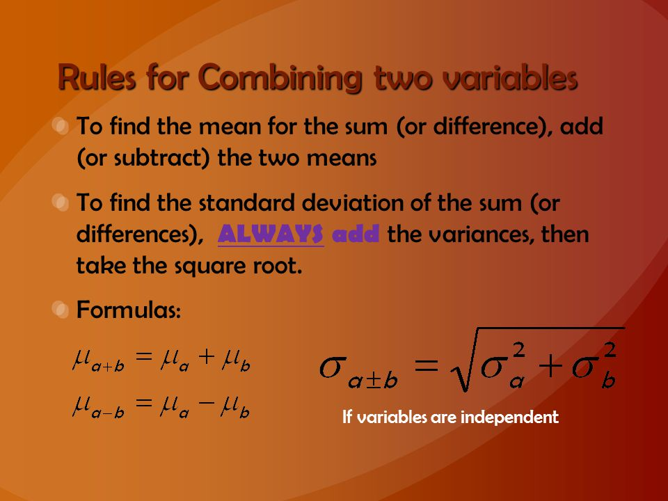 Rules for Combining two variables