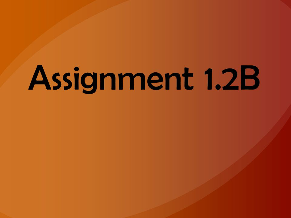 Assignment 1.2B