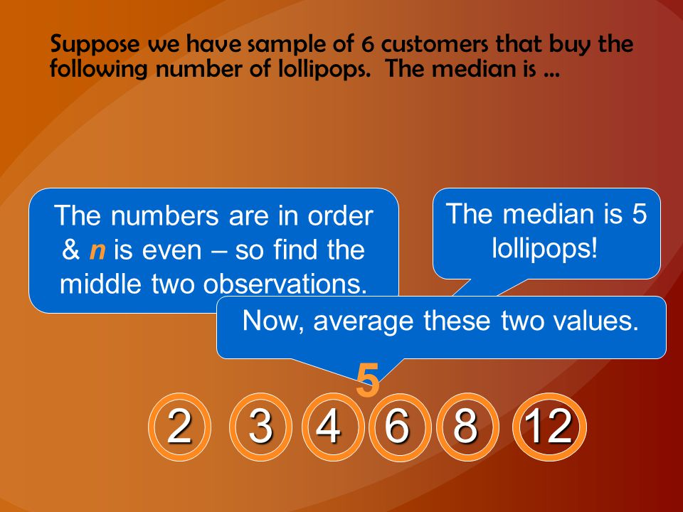 Suppose we have sample of 6 customers that buy the following number of lollipops. The median is …