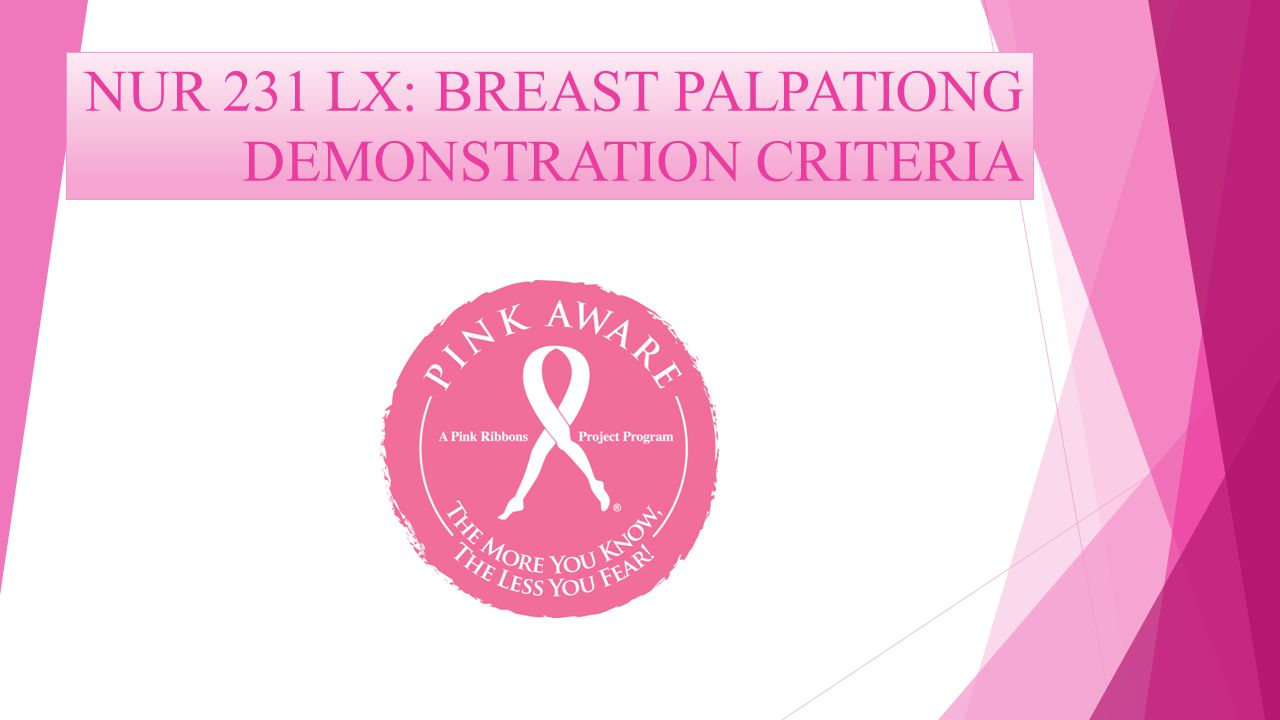 NUR 231 LX: BREAST PALPATIONG DEMONSTRATION CRITERIA