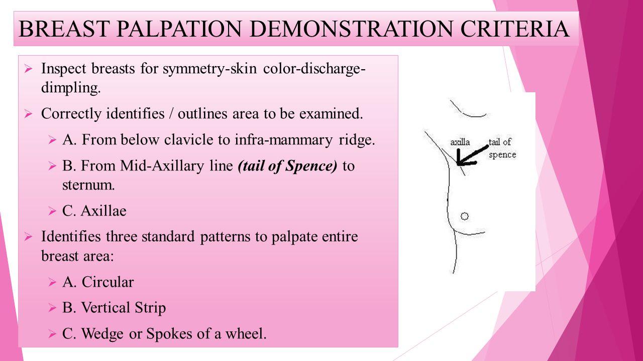 BREAST PALPATION DEMONSTRATION CRITERIA