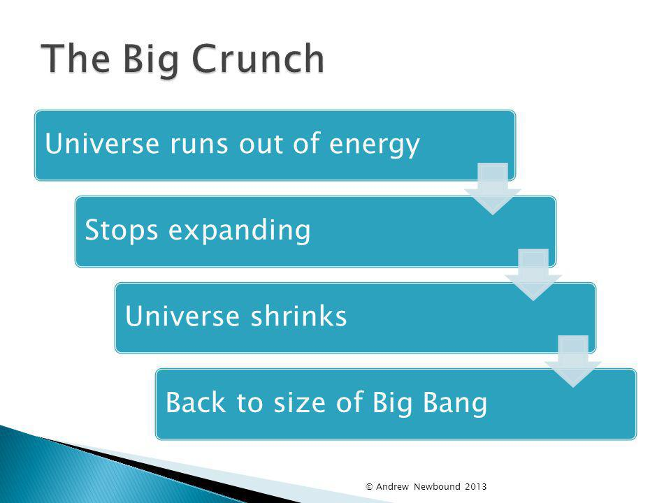 The Big Crunch Universe runs out of energy Stops expanding