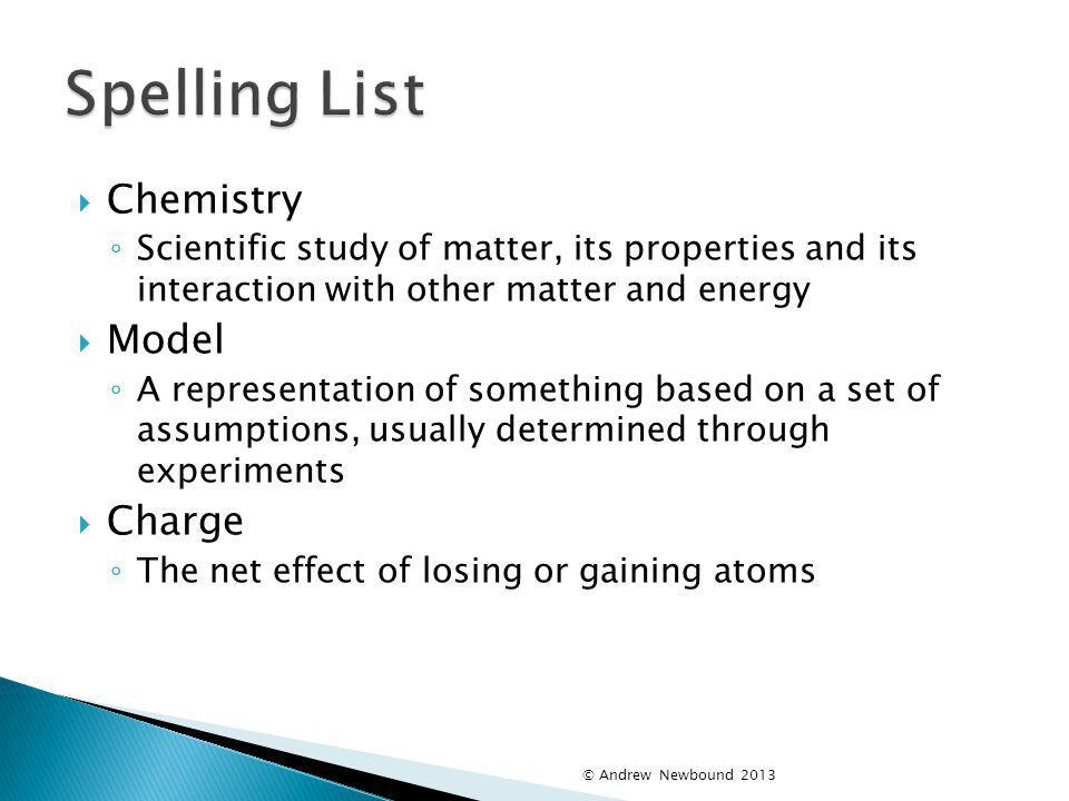 Spelling List Chemistry Model Charge