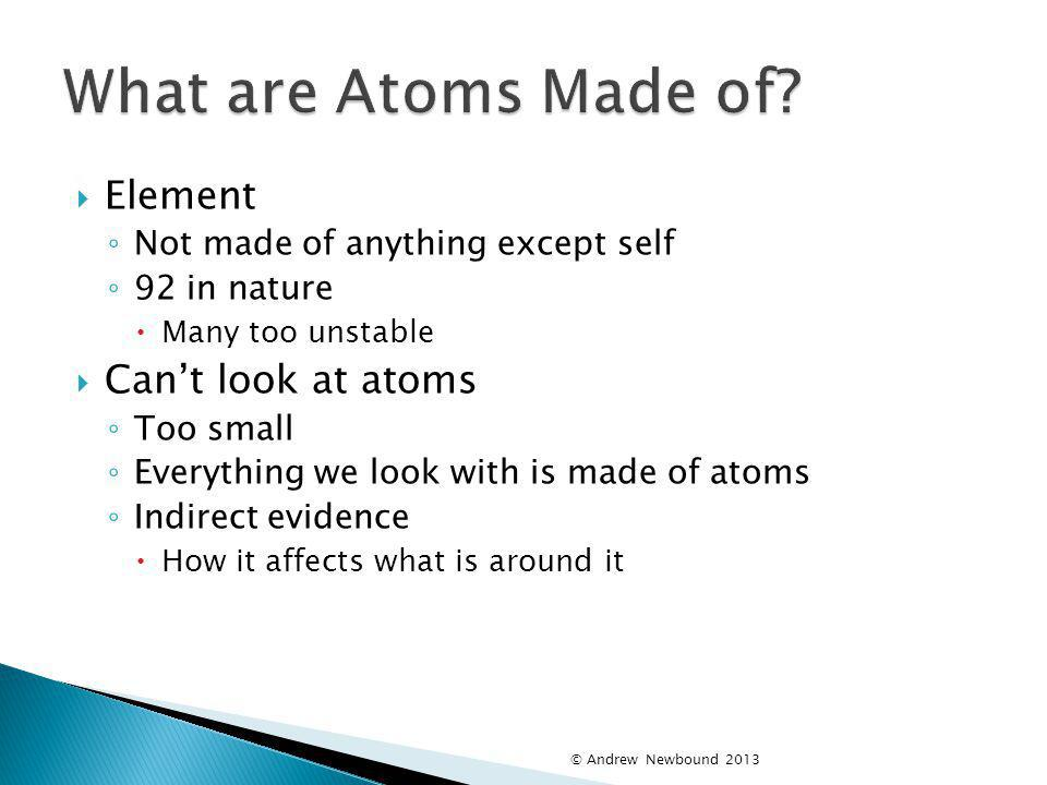 What are Atoms Made of Element Can't look at atoms