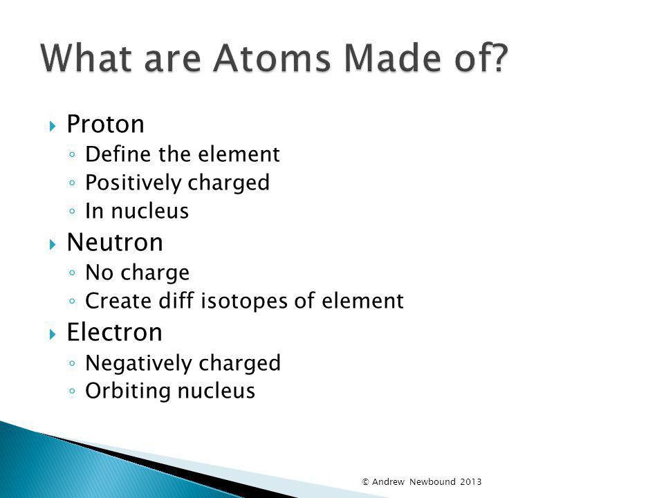 What are Atoms Made of Proton Neutron Electron Define the element