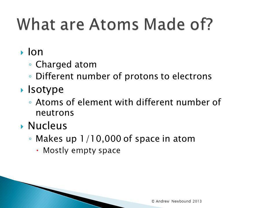 What are Atoms Made of Ion Isotype Nucleus Charged atom