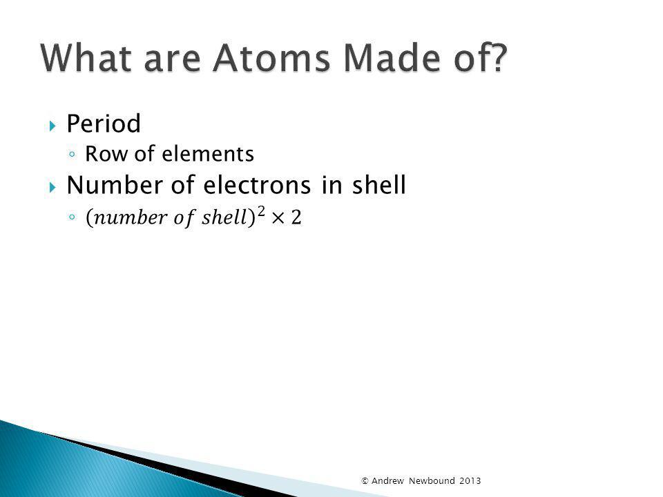 What are Atoms Made of Period Number of electrons in shell