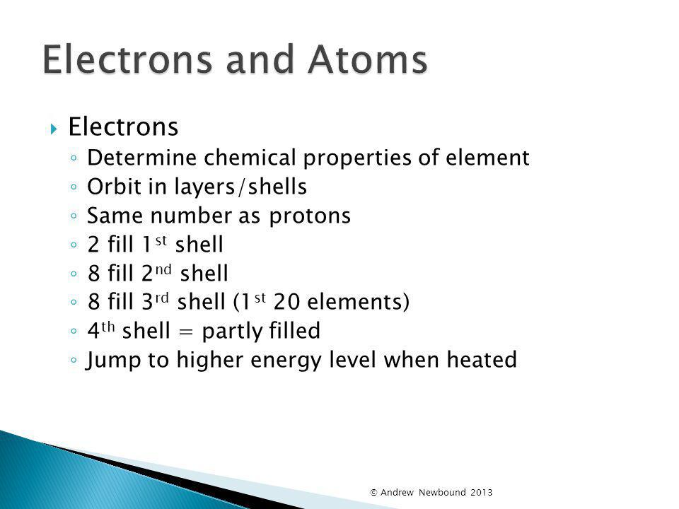 Electrons and Atoms Electrons Determine chemical properties of element