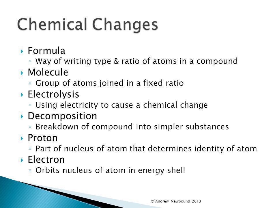 Chemical Changes Formula Molecule Electrolysis Decomposition Proton