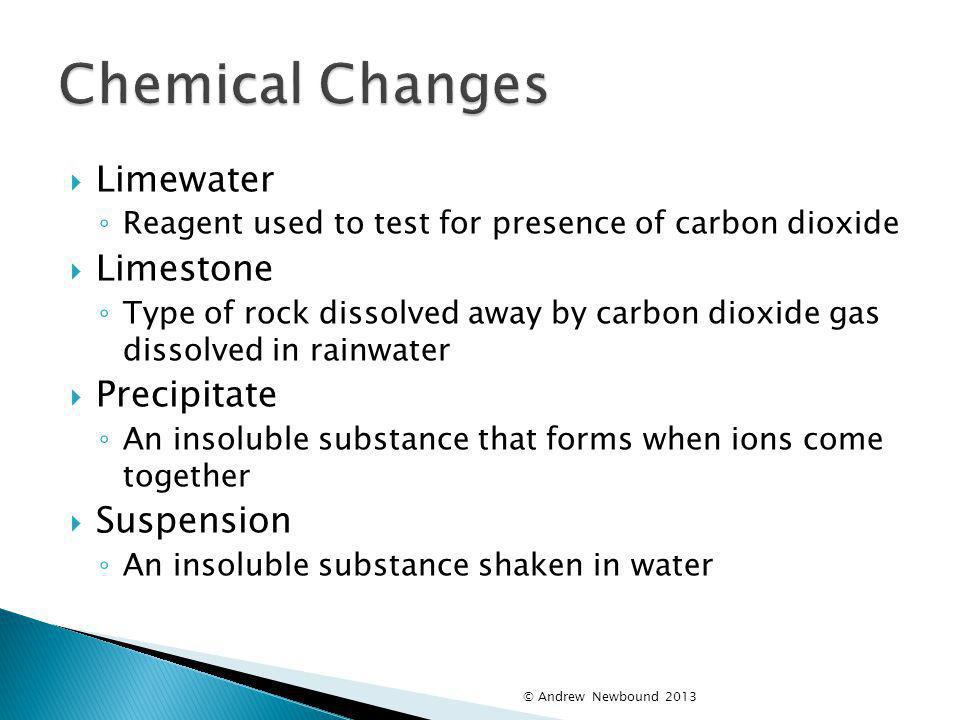 Chemical Changes Limewater Limestone Precipitate Suspension