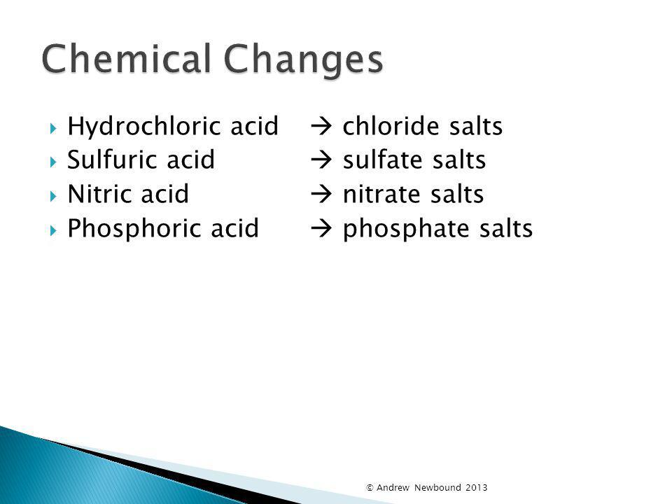 Chemical Changes Hydrochloric acid  chloride salts