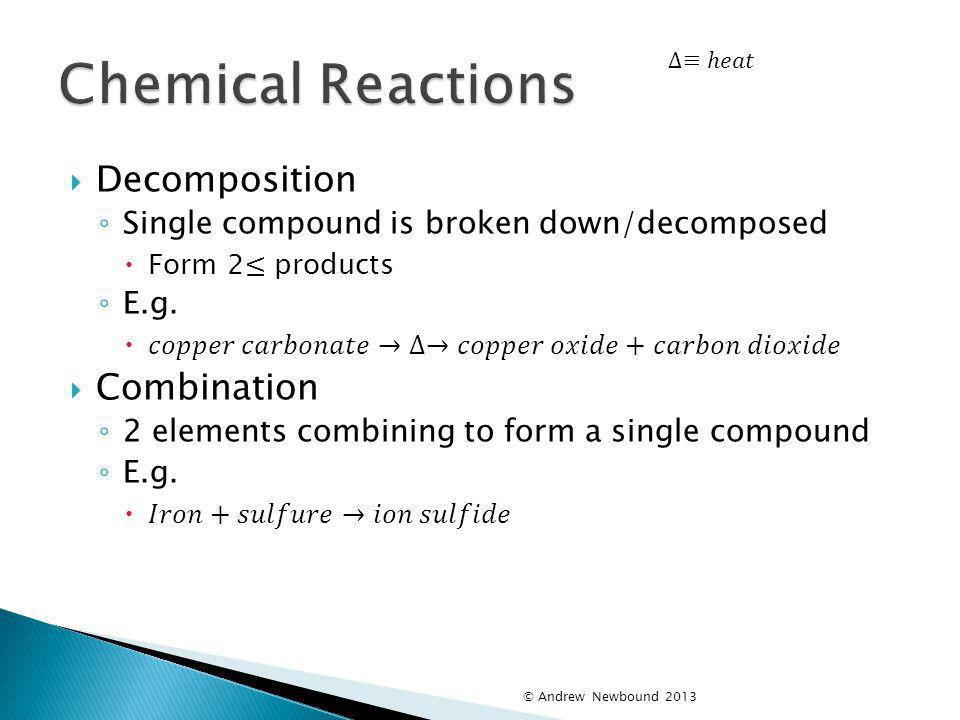 Chemical Reactions Decomposition Combination