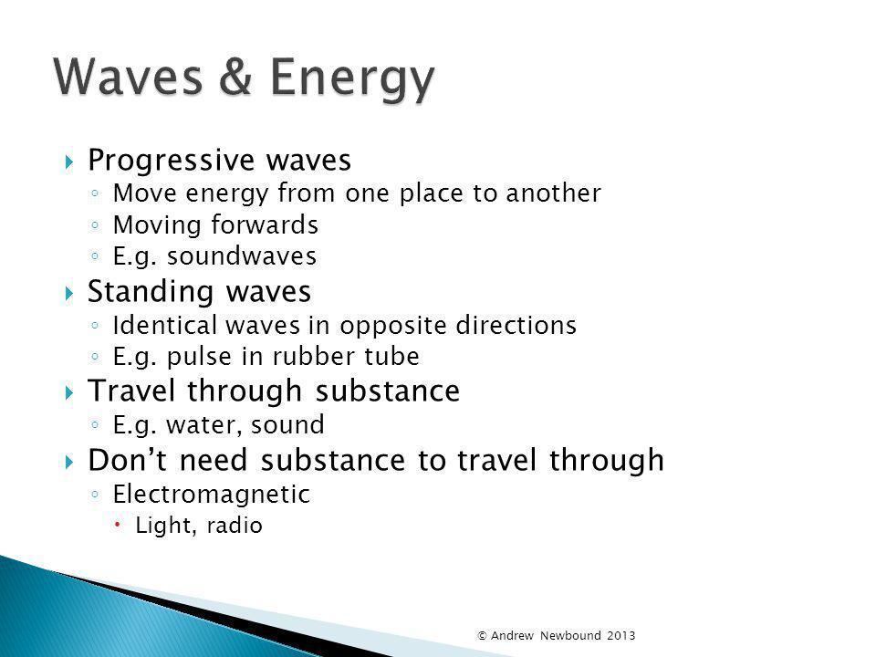 Waves & Energy Progressive waves Standing waves